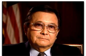 Daniel Inouye screenshot from his interview from the JACL Redress Collection.